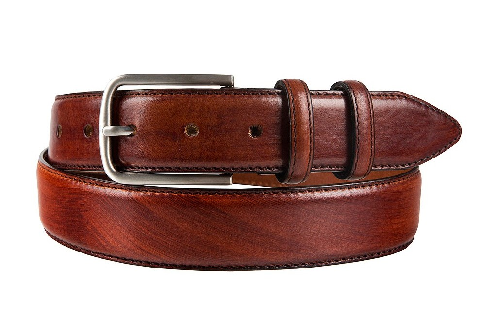 HANDPAINTED ITALIAN FULL GRAIN LEATHER BELT BROWN