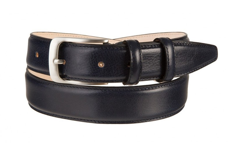 full grain leather belt navy